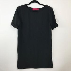 BooHoo Women Black Crepe Shift Dress Short Sleeve